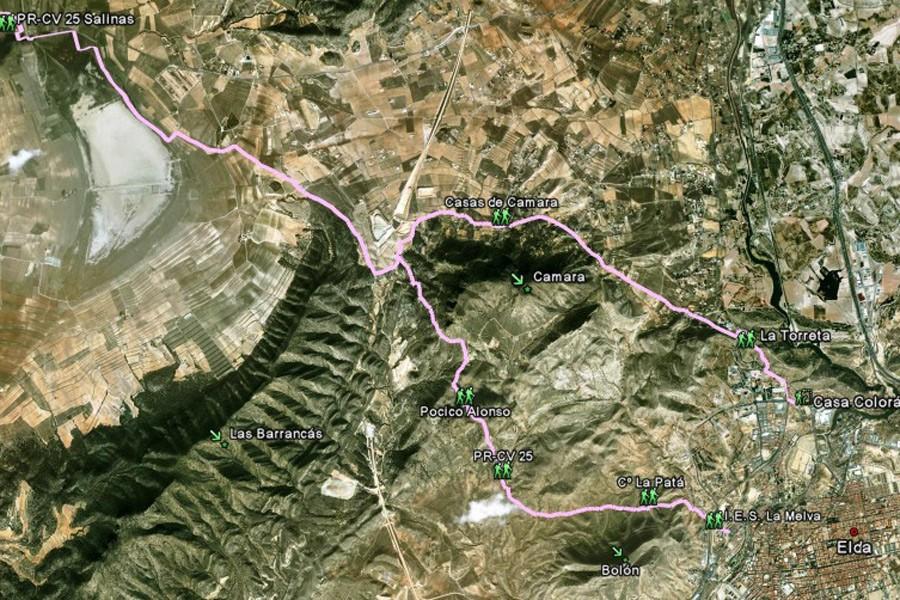 Mapa PR-CR 25 Elda - Salinas