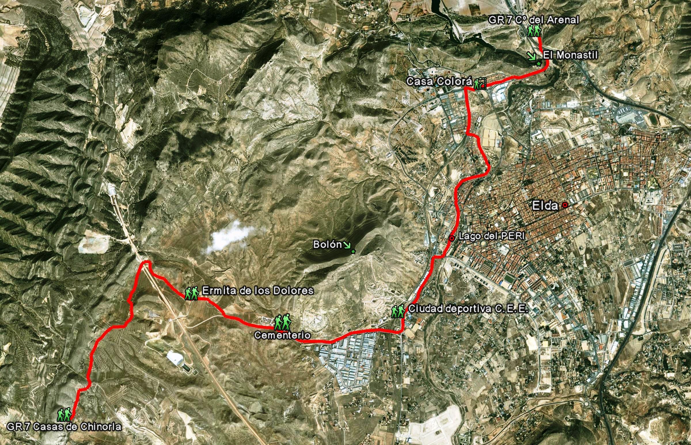 Mapa GR7 paso por elda
